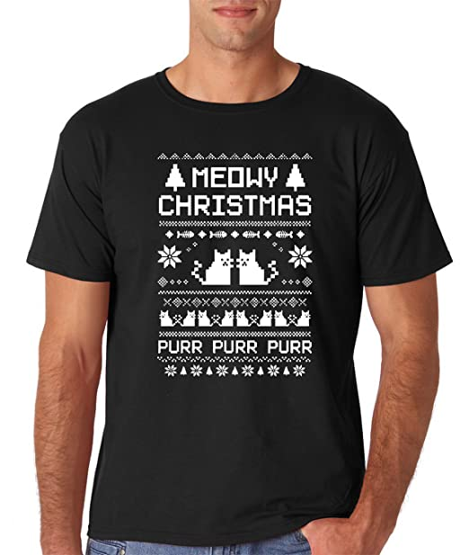Meowy Christmas Sweater.Aw Fashions Meowy Christmas Cat Ugly Christmas Sweater Premium Men S T Shirt
