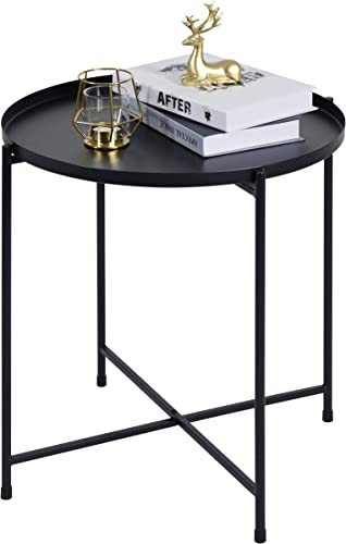 Side Table Small Tray Metal End Table,Round Folding Side Table
