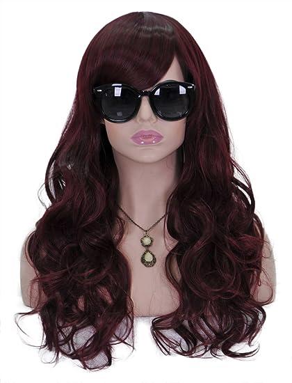 Largo rizado ondulado pelucas para mujeres 20 cm cabeza completa color rojo vino pelo cosplay lolita