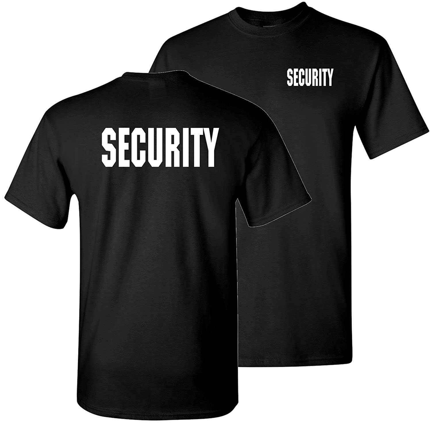 Black security shirt custom shirt for Custom t shirts front and back
