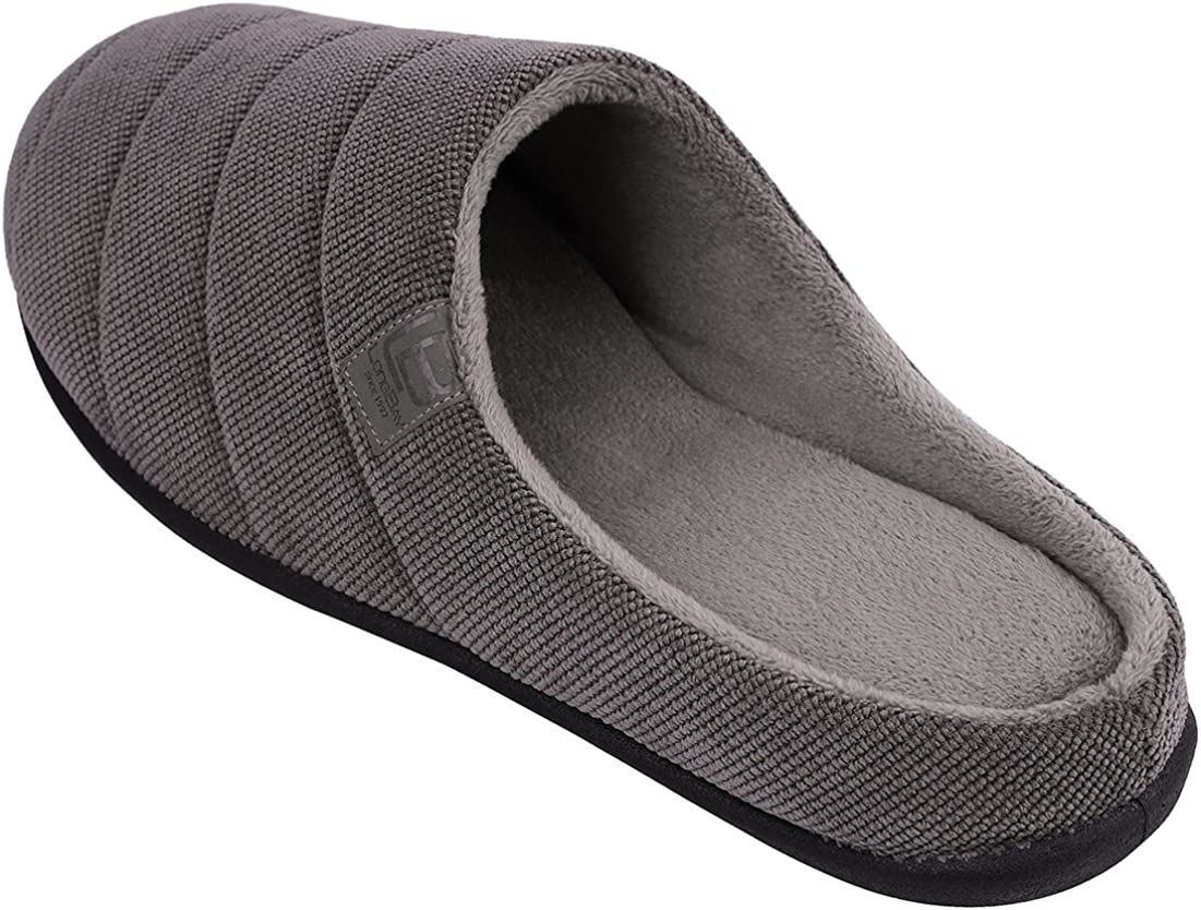 LongBay Mens Memory Foam Slippers Wool Felt Removable Insole Durable Injection Mule Comfy Indoor Outdoor House Shoes