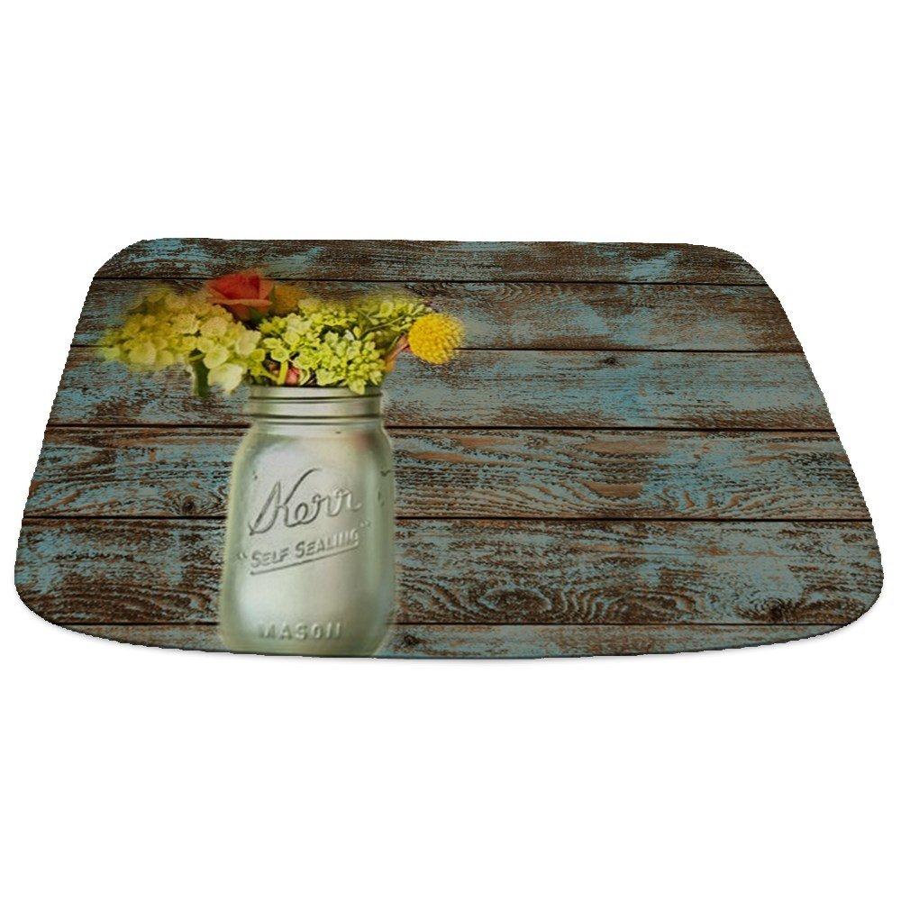 CafePress - Mason Jar Floral Barn Wood Western Country - Decorative Bathmat, Memory Foam Bath Rug