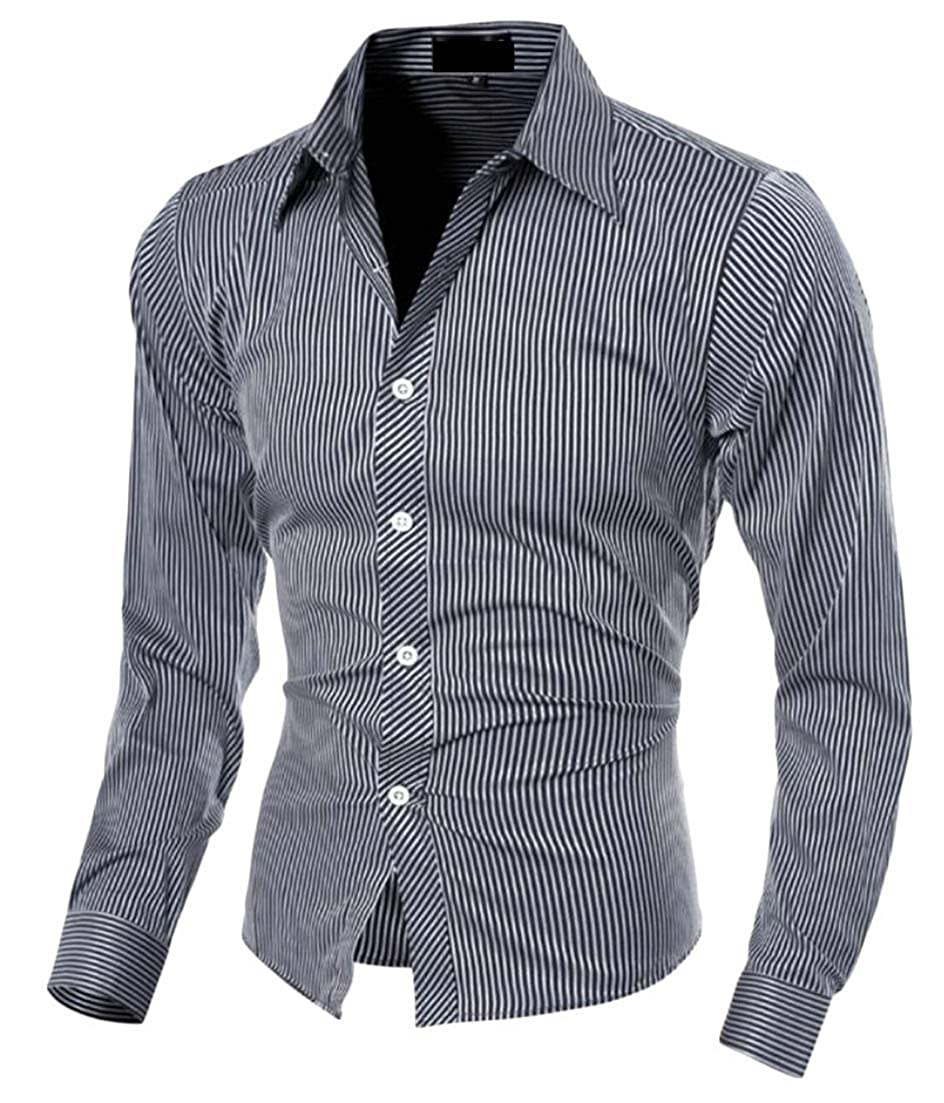 WSPLYSPJY Mens Casual Thicken Dress Shirt Long Sleeve Button Down Blouse Tops