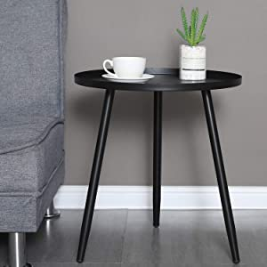 "Coffee End Table Mental Side Table for Living Room Round Accent Table (Black, 18.1""×20"")"