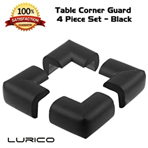 LURICO 4 Pieces Set Corner Guard Home Furniture Safety Bumper Foam Toddler Baby Proof Table Protector Pad Childproof Fireplace Guard (Black)