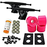 "Yocaher Longboard Skateboard Trucks Combo Set w/ 71mm Wheels + 9.675"" Polished/Black Trucks Package"