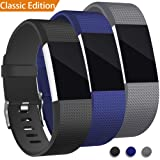 [Classic Edition] 3Pack For Fitbit Charge 2 Band, Hotodeal Classic Soft TPU Adjustable Replacement Bands Fitness Sport Strap for Fitbit Charge 2, Black+Blue+Grey, Large