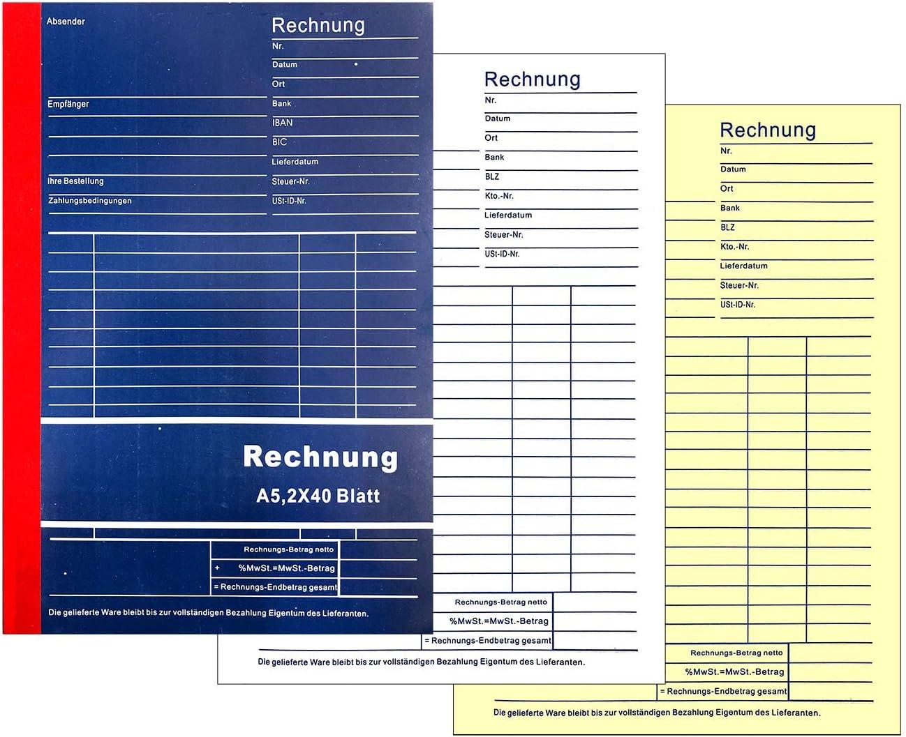 2x 40 Blatt Rechnungsbuch 305 A5 Touchpen Kugelschreiber mit Gravur