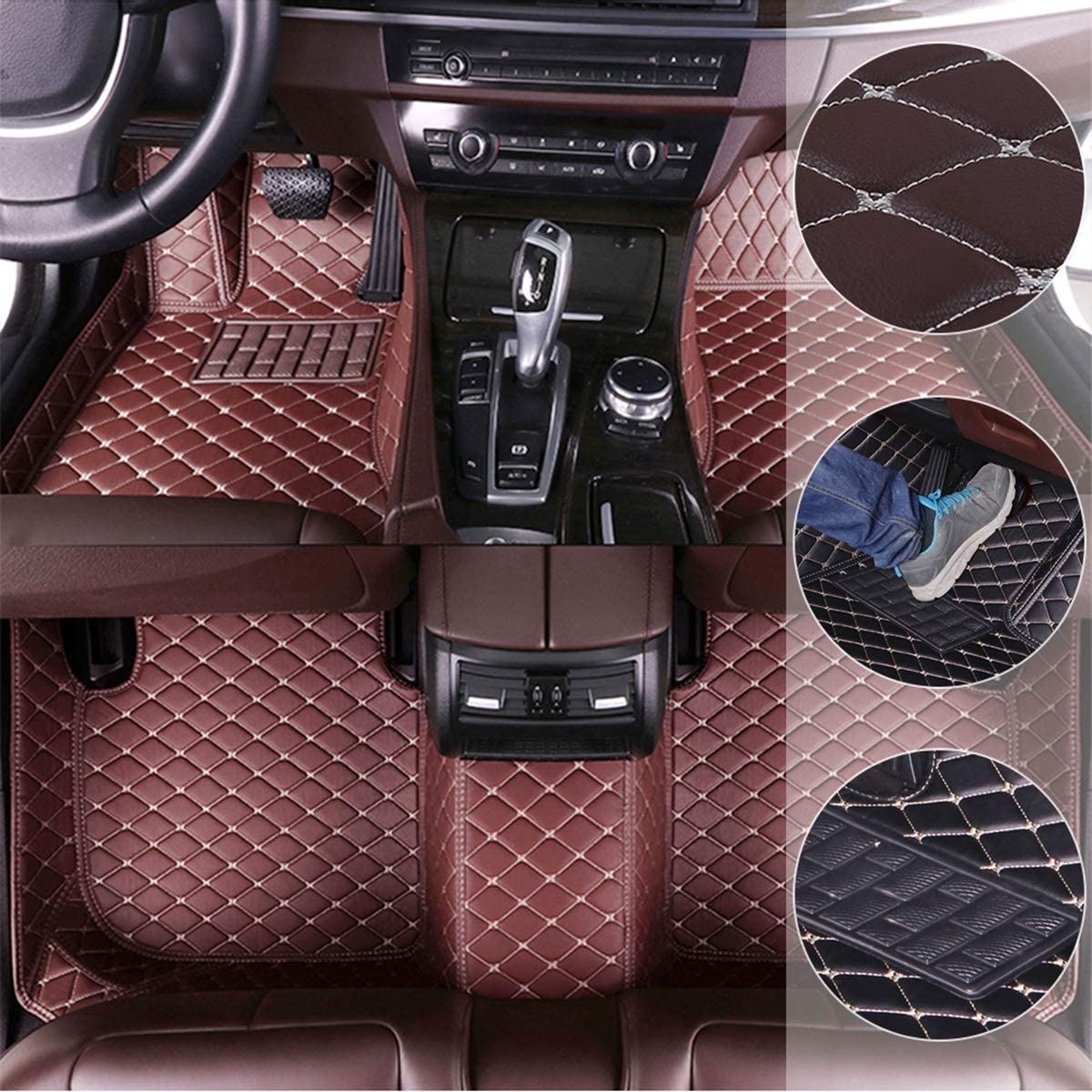 Custom Car Floor Mats for Dodge RAM 1500 2011-2017 Waterproof Non-Slip Leather Liners Automotive Carpets Interior Accessories Full Set Black