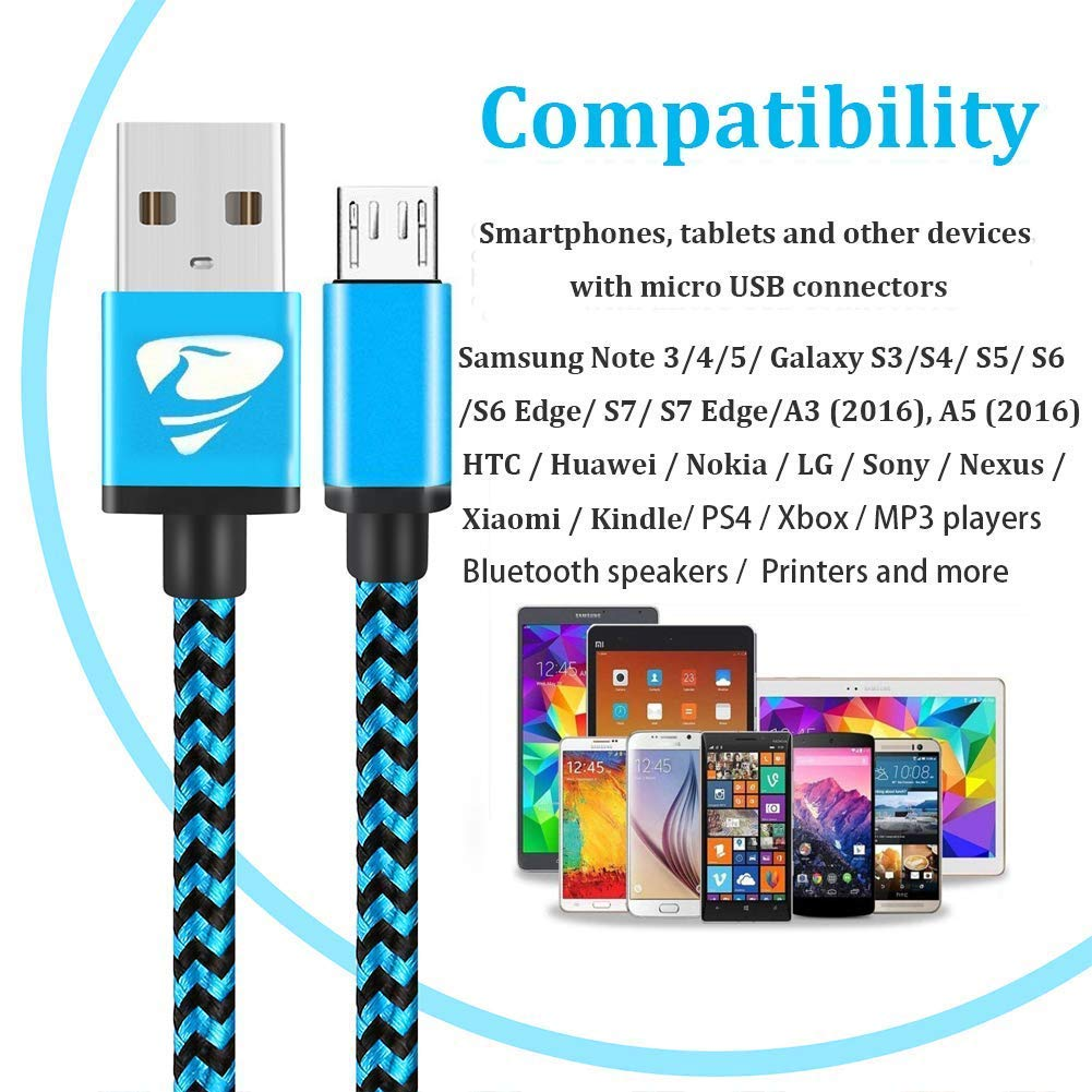 Micro USB Cable Aioneus Fast Android Cord Charger Cable 4 Pack [2FT, 3FT, 5FT, 6FT] Nylon Braided Cable Charging Cord Compatible with Samsung Galaxy ...