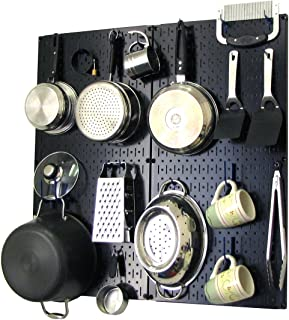 product image for Wall Control Kitchen Pegboard Organizer Pots and Pans Pegboard Pack Storage and Organization Kit with Black Pegboard and Blue Accessories