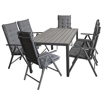 Amazon.de: Wohaga Gartenmöbel-Set Gartentisch, Aluminiumrahmen ...