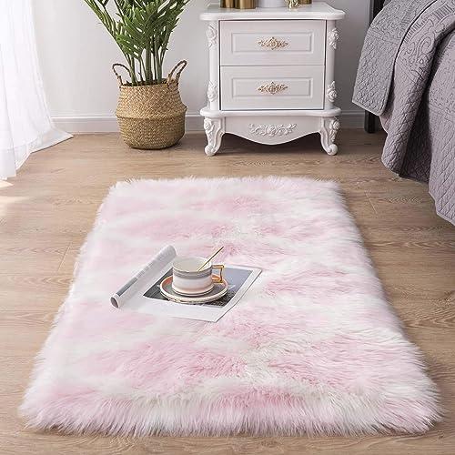 Carvapet Moroccan Shaggy Soft Faux Sheepskin Fur Area Rugs Floor Mat Luxury Beside Carpet