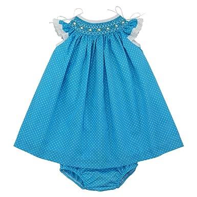 0984170e0 Marakitas Baby & Toddler Girl Smocked Dress – Angel Sleeve Cotton –  Handmade Embroidery (Blue