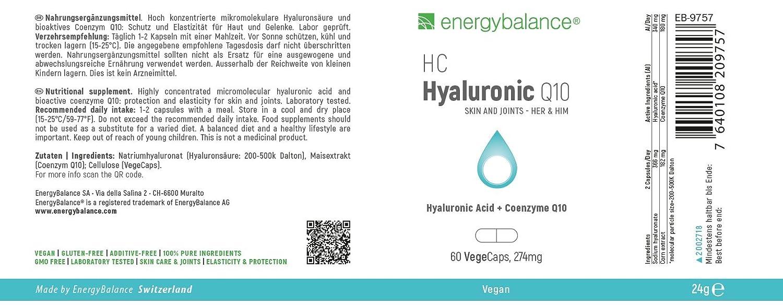 EnergyBalance Vegan ácido hialurónico de alta dosis 340mg y 180mg de coenzima Q10 | 1 mes de suministro máximo | 200-500k kDa de calidad óptima | Made in ...