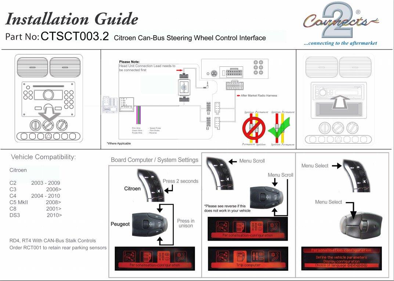 Citroen C2 C3 C4 C5 C8 Fitting Kit Steering Wheel Radio Wiring Diagram Adaptor Ctsct0032 Free Alpine Lead Automotive