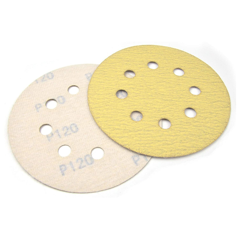 50Pcs 5 Inch 8 Holes Sanding Discs 60 Grits Aluminum Oxide Hook /& Loop Yellow Orbital Sander Sandpaper Discs for Woodworking or Automotive