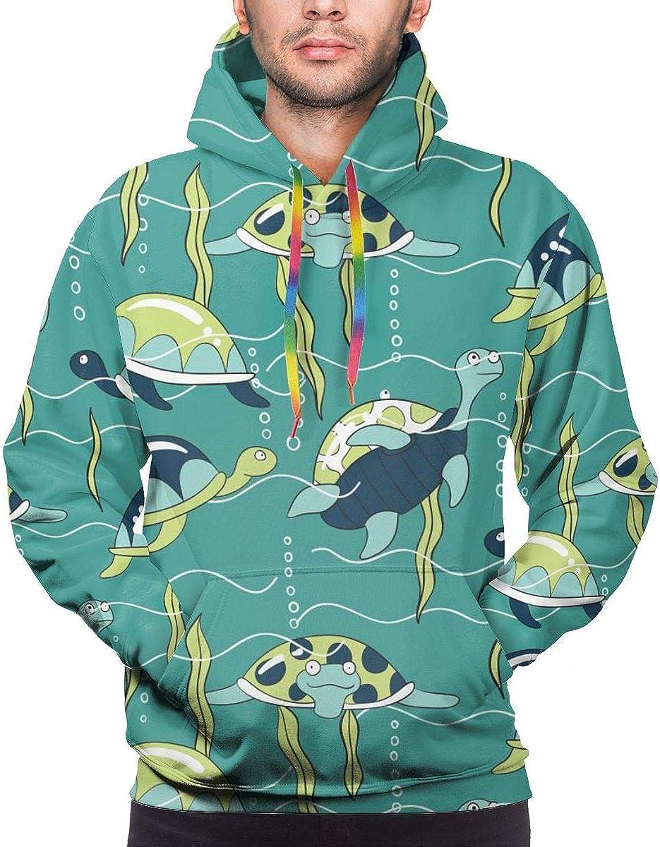 Mens Hoodie Underwater Turtles Illustration Sweate Sweatshirt Mens Casual Hoodie Casual Top Hooded