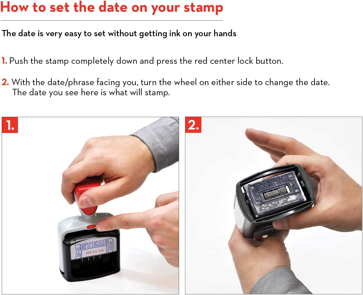 Date Stamp with Received Extra Large Heavy Duty Style Blue//Red Ink
