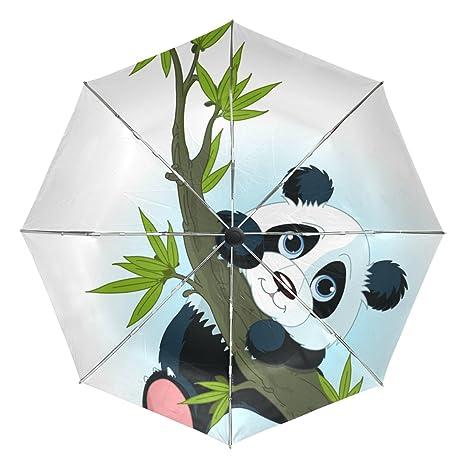 COOSUN Panda gigante Árbol que sube automático 3 plegable del paraguas del parasol Color # 002