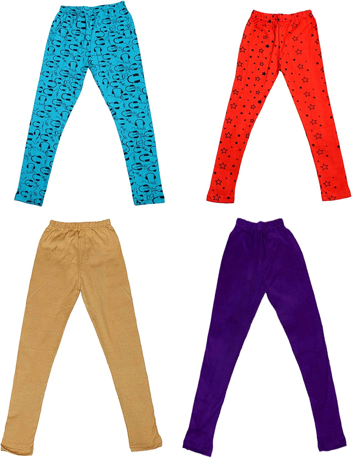 Indistar Girls 2 Cotton Solid Legging Pants and 2 Cotton Printed Legging Pants Pack Of 4 /_Multicolor/_Size-3-5 Years/_71401021617-IW-P4-24