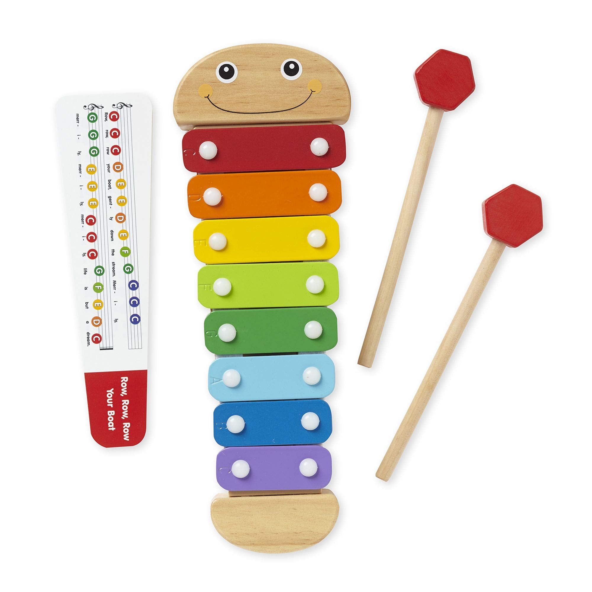 Melissa & Doug Caterpillar Xylophone, Musical Instruments, Rainbow-Colored, One Octave of Notes, Self-Storing Wooden Mallets, 18'' H x 6.2'' W x 2'' L by Melissa & Doug