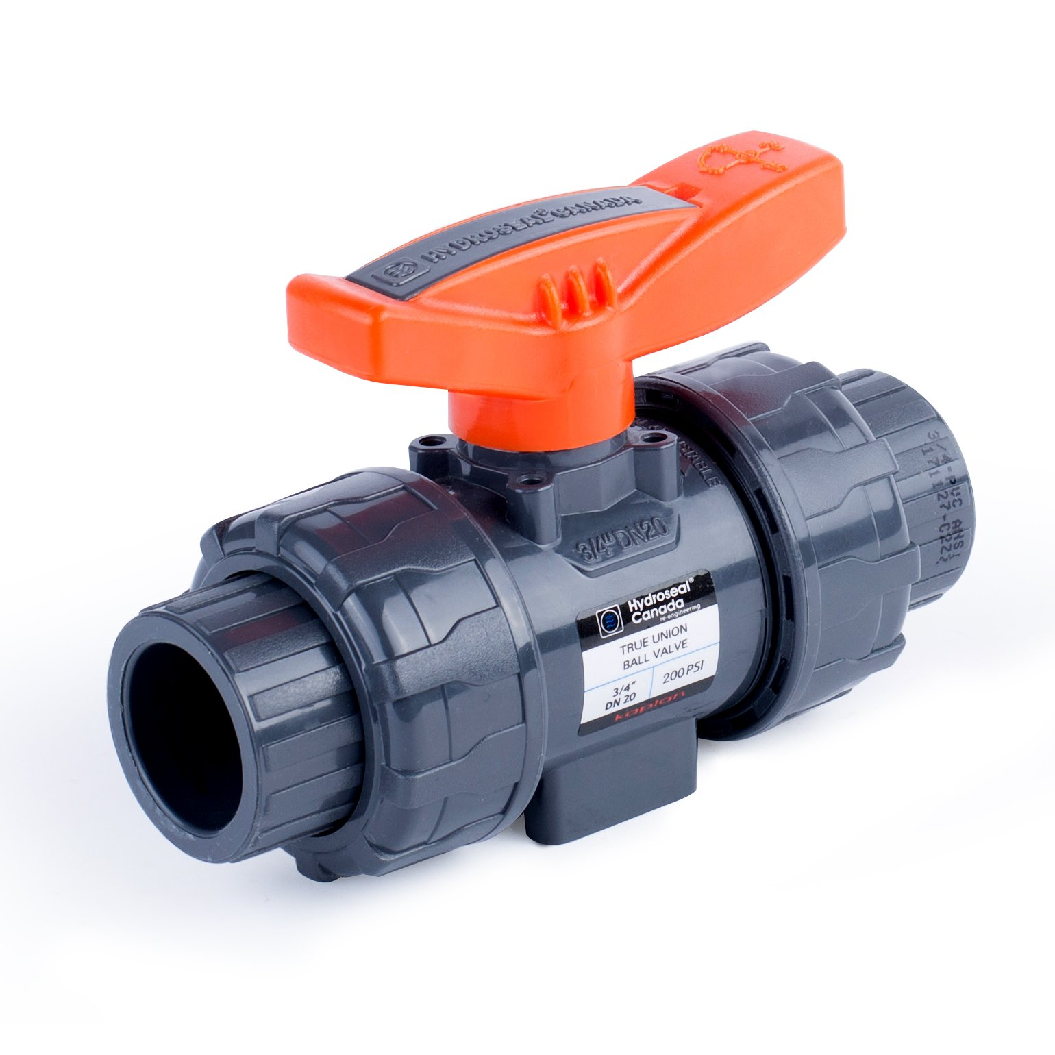 HYDROSEAL Kaplan 3/4'' PVC True Union Ball Valve with Full Port, ASTM F1970, EPDM O-Rings and Reversible PTFE Seats, Rated at 200 PSI @73F, Gray, 3/4 inch Socket (3/4'') by Hydroseal (Image #2)