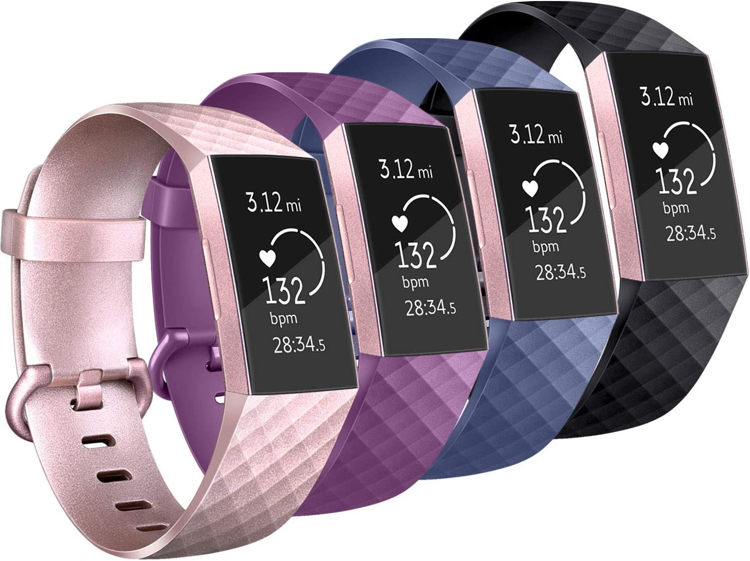 Rose Gold Silver Sport Wristbands for Fitbit Charge 3//Fitbit Charge 3 SE Vancle Pack 4 Silicone Bands Compatible with Fitbit Charge 3 Bands for Women Men