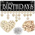 Acoavo Family Birthday Board DIY Wooden Calendar Wall Hanging Birthday Reminder Plaque,with 100 Wooden Tags,Great Mom Grandma,Birthday