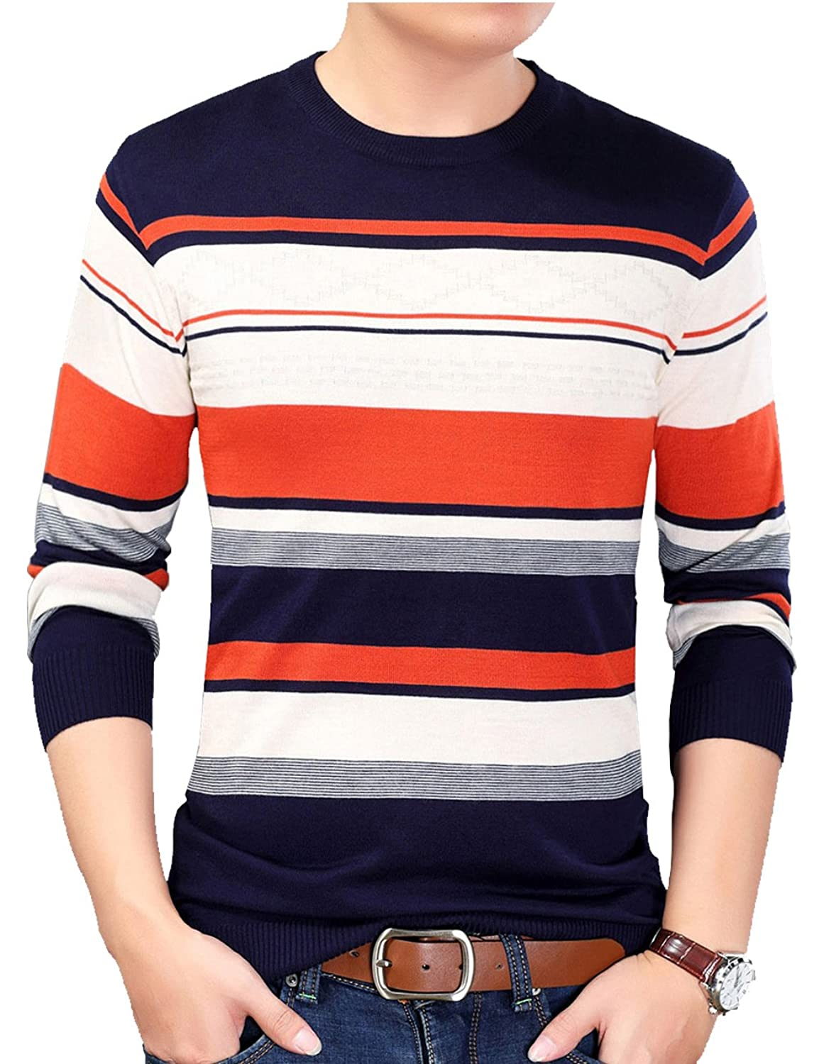 Hot S.FLAVOR Men's Casual Basic Slim Fit O-Neck Pullover Sweater hot sale