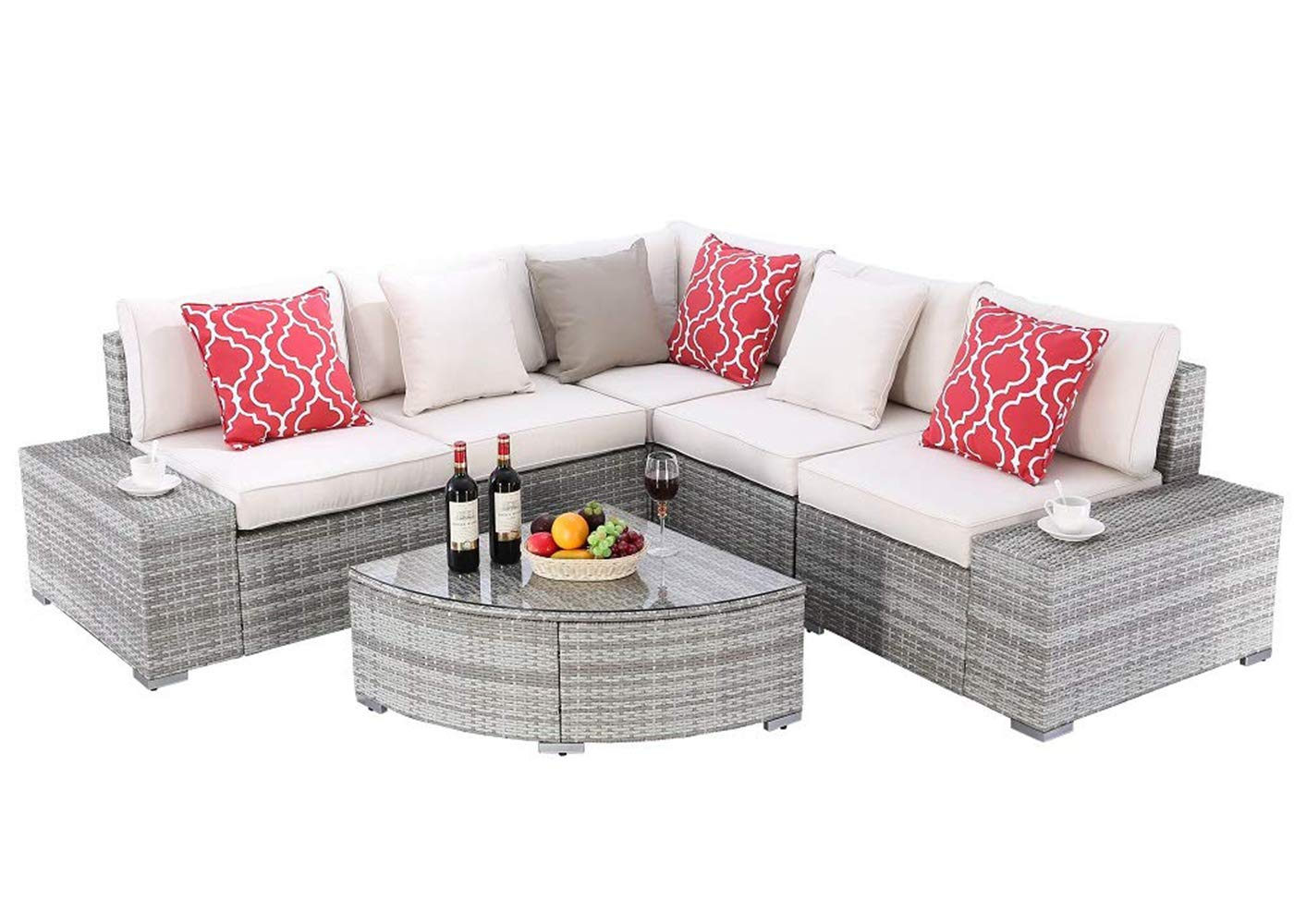 Do4U 6 Pieces Outdoor Patio Furniture Sectional Conversation Set, All-Weather Wicker Rattan Sofa Beige Seat Back Cushions Grey