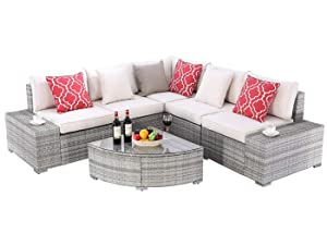 Do4U 6 Pieces Outdoor Patio Furniture Sectional Conversation Set, All-Weather Wicker Rattan Sofa Beige Seat & Back Cushions (3506-PGRY-BEG)