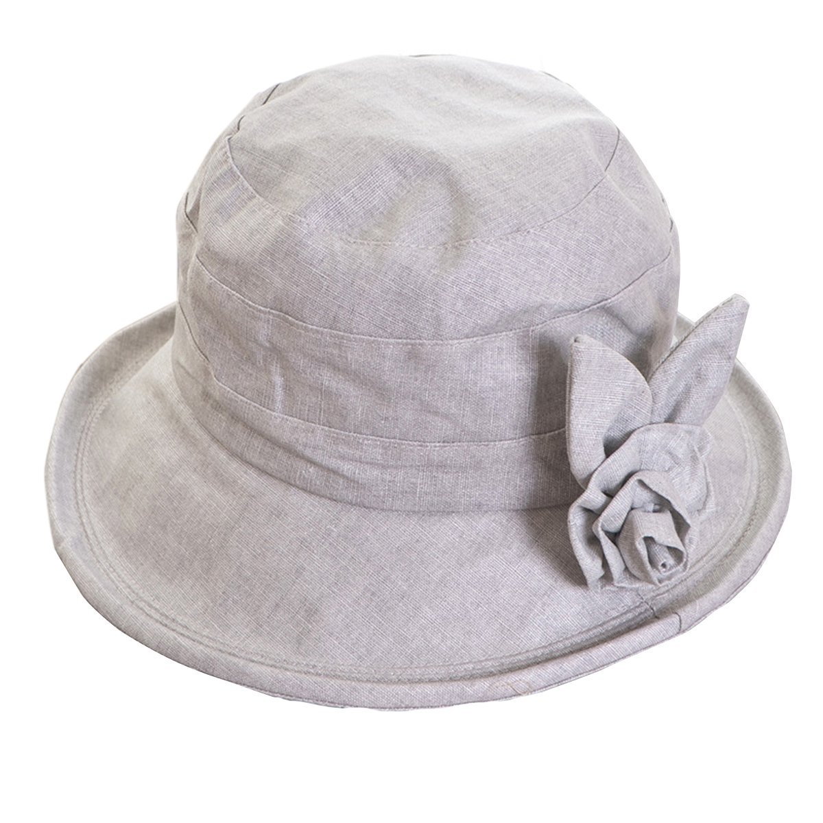 8ff10285c3f Butterme 100% Cotton Korean Fashion Bucket Hat with Lovely Flower  Decoration Graceful Sun Hat for Women Lady Girls (Grey Blue)  Amazon.co.uk   Clothing