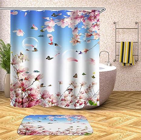 12 Hooks 90X180CM Pure white Fabric Waterproof Shower Curtain Panel Sheer Decor