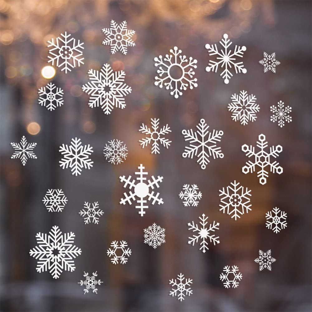 CCINEE 96 Pieces Snowflake Glass Cling Window Film Sticker Static Decal for Christmas and New Year Decoration