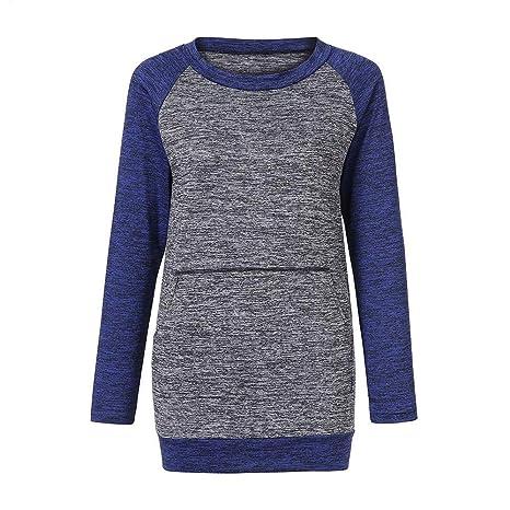 Mujeres Tops Rovinci Las Mujeres Ocasionales de Moda cómodo Remiendo botón Diario de Costura de Bolsillo de Manga Larga túnica fluida Tops Blusa S-XL: ...