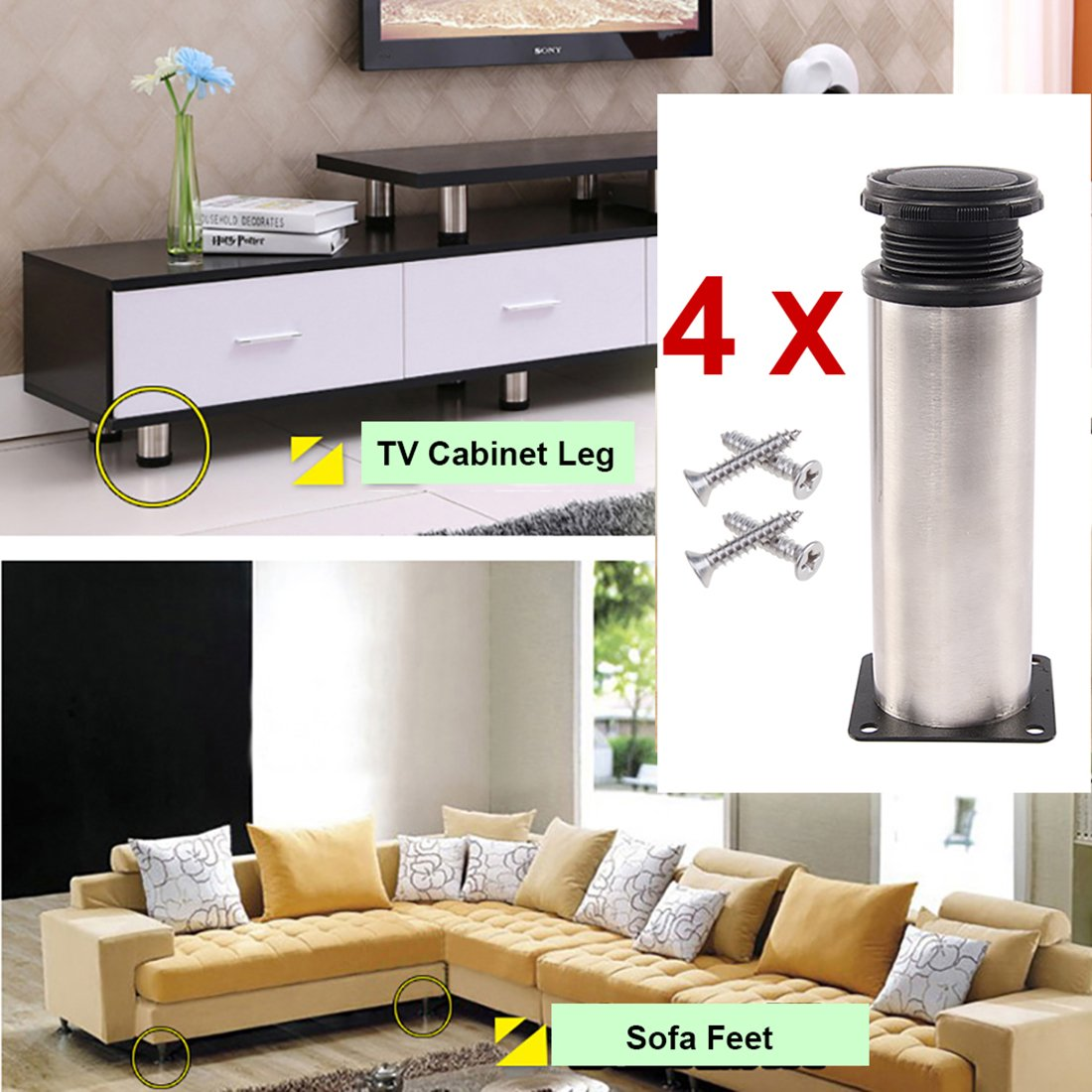 Drenky 4 PCS 200mm Adjustable Metal Legs Bathroom Kitchen Cabinet Feet Round Furniture Legs TV Table Sofa Feet, (200 - 215mm) Height with 16 Screws