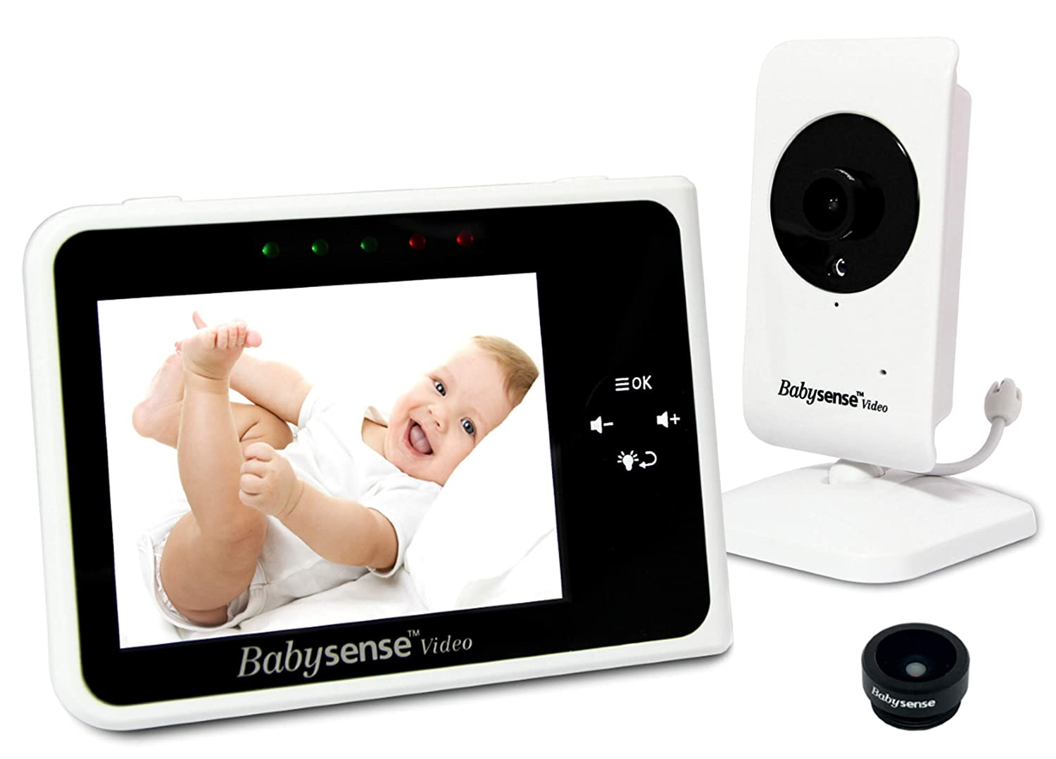 Babysense Video Baby Monitor 3.5 Inch Screen – Wide Angle Lens Included, Night Vision, Talk Back, Room Temperature, Lullabies, White Noise, Long Range and Battery Life