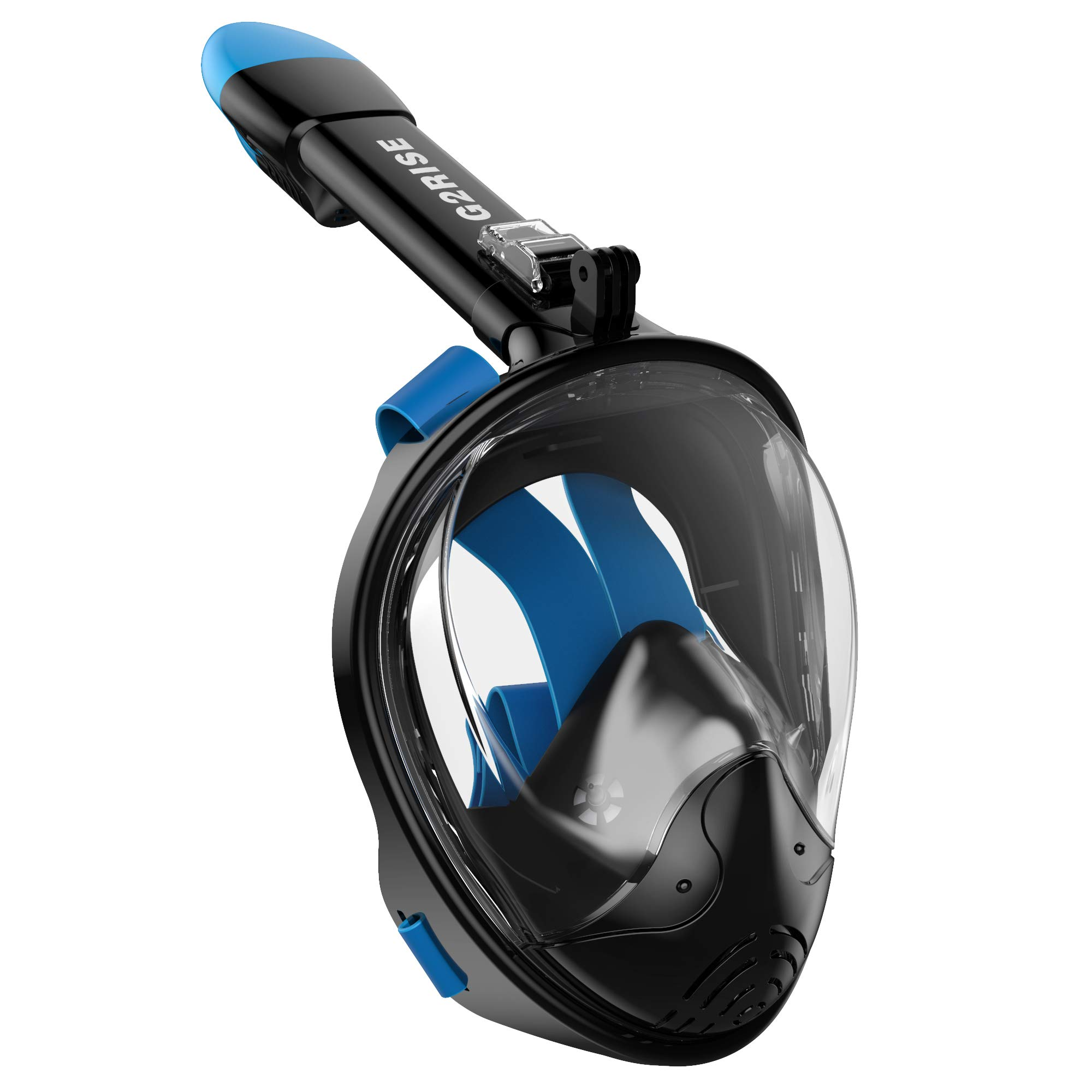 G2RISE SN01 Full Face Snorkel Mask with Detachable Snorkeling Mount, Anti-Fog and Foldable Design for Adults Kids (Black Blue, L/XL) by G2RISE