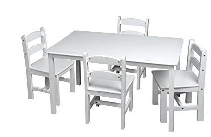 Amazoncom Gift Mark Rectangle Table Set With Chairs White - Rectangle table with 4 chairs