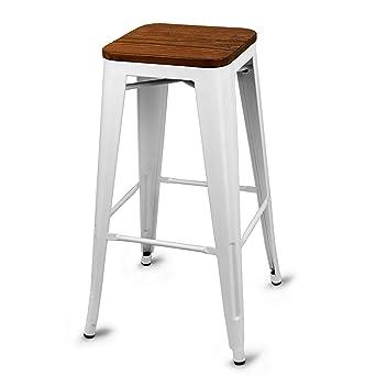 Urban Loft Metal Bar Stool With Wooden Seat White Set Of 2