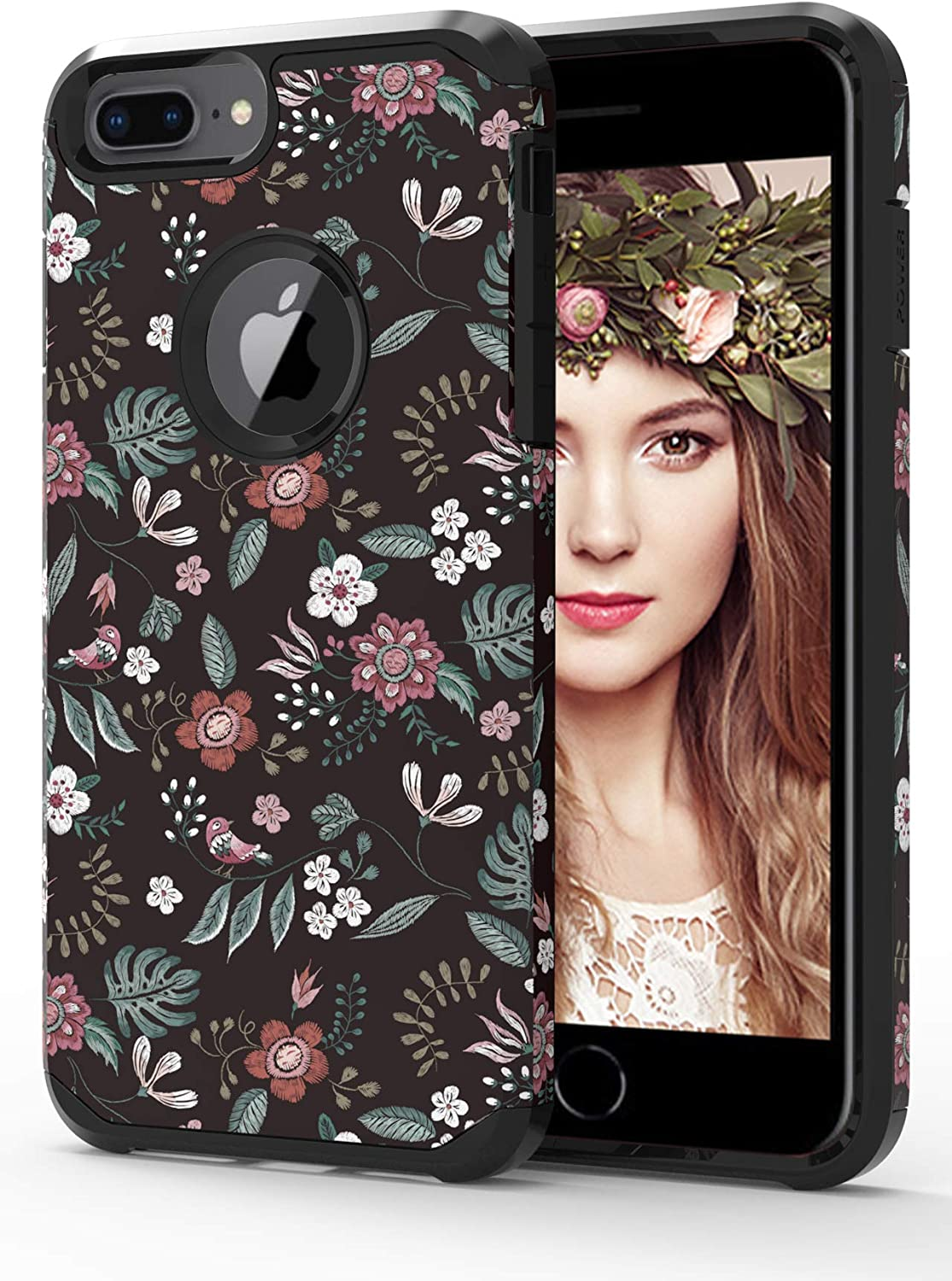 ShinyMax iPhone 7 Plus/8 Plus Case with Floral Design,iPhone 6 Plus/6s Plus Case, Hybrid Dual Layer Armor Protective Cover Sturdy Anti-Scratch Shockproof Cute Case for Women and Girls-Flowers/Black