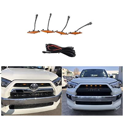 ZGAUTO Grill Amber Light Fit for 4Runner TRD Pro Grille 2014 2015 2016 2020 2020 2020 4 Pcs LED Lights: Automotive