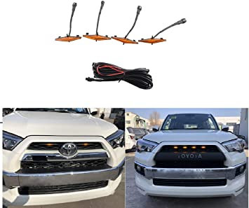 ZGAUTO Grill Amber Light Fit for 4Runner TRD Pro Grille 2014 2015 2016 2017 2018 2019 4 Pcs LED Lights