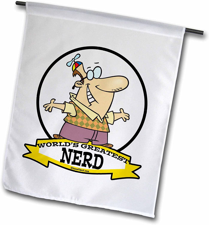 3dRose Fl_103380_1 Funny Worlds Greatest Nerd II Cartoon Garden Flag, 12 by 18-Inch