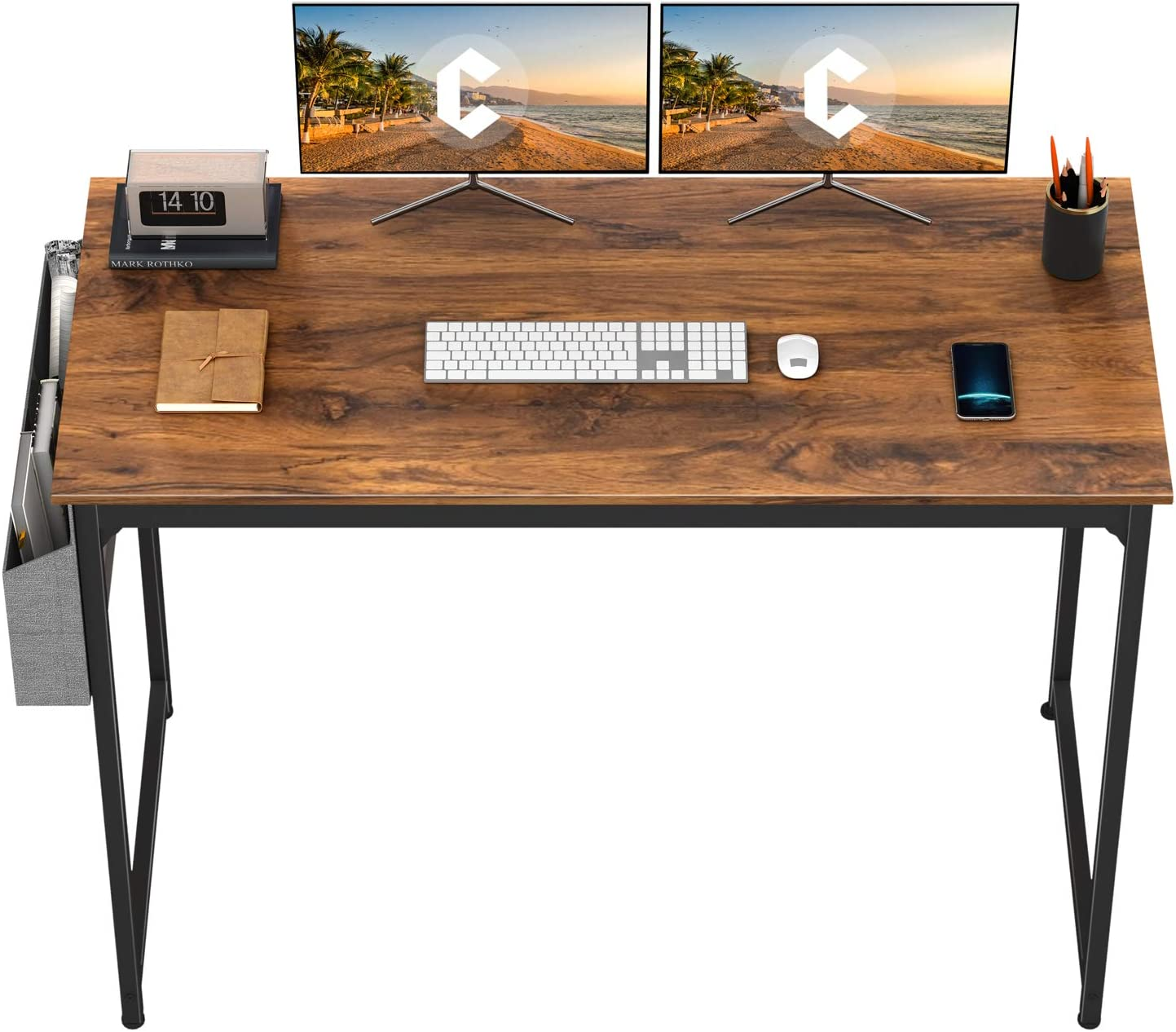 "CubiCubi Study Computer Desk 55"" Home Office Writing Small Desk, Modern Simple Style PC Table, Black Metal Frame, Deep Brown"