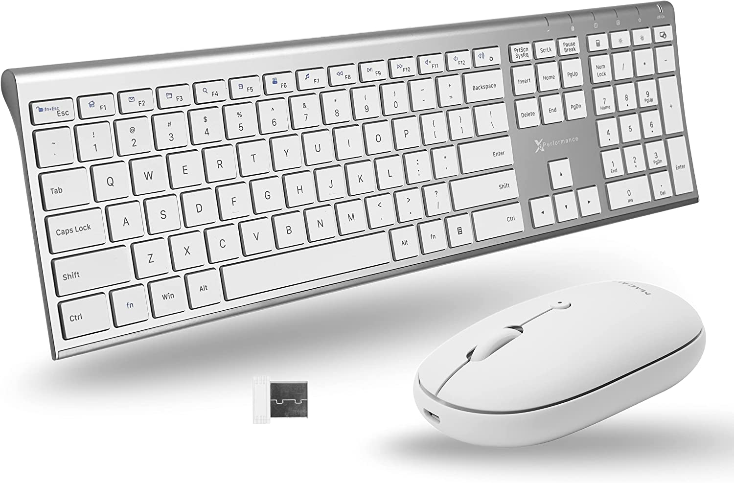 X9 Performance Rechargeable Wireless Keyboard and Mouse Combo for PC - Slim Keyboard with 110 Keys and Aluminum Finish and White Quiet Click Mouse - Sophisticated 2.4Ghz Wireless Keyboard Mouse Combo