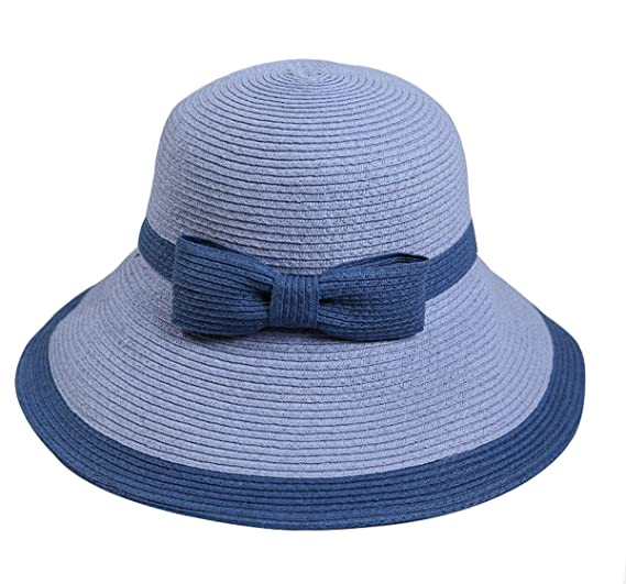 Yacn Ladies Bucket Summer Sun Hat Straw Hat Bowknot Foldable Beach ... ebc9a1c13714