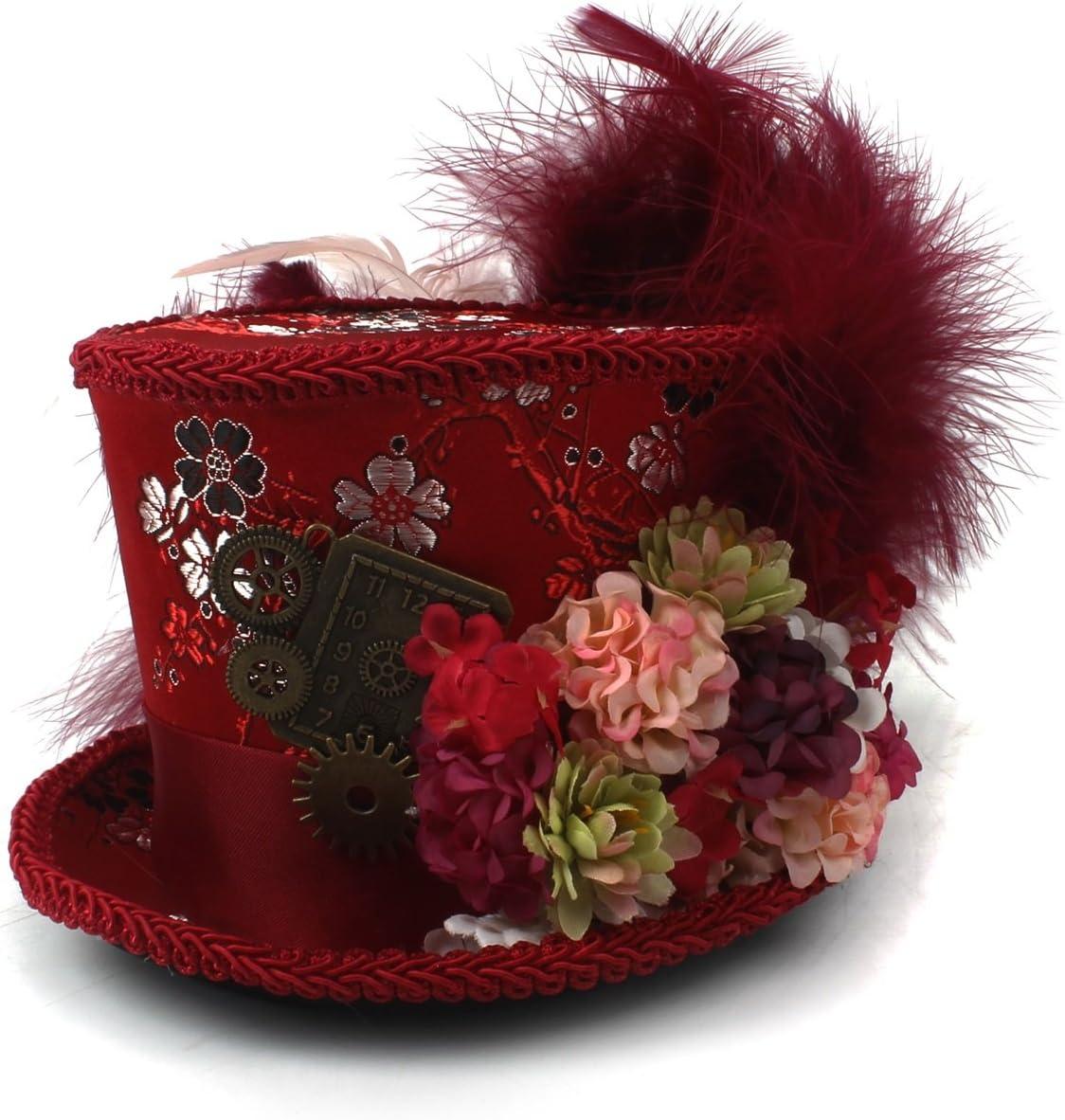 SCSY-Sombrero Alicia en el país de Las Maravillas, Sombrero Sombrerero Loco, Sombrero de té, Sombrerero Loco Fiesta del té Material: Pluma de Seda (Color : Rojo, tamaño : 25-30cm)