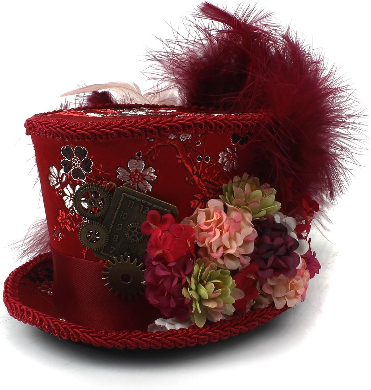 YQXR Moda Sombreros Mini sombrero de copa, sombrero de té, sombrero loco fiesta de té, sombrero rojo antiguo y marfil de taza de té sombrero loco (Color : Rojo, Size : 25-30cm)